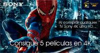 Llévate 5 películas con tu TV Sony 4k Ultra HD