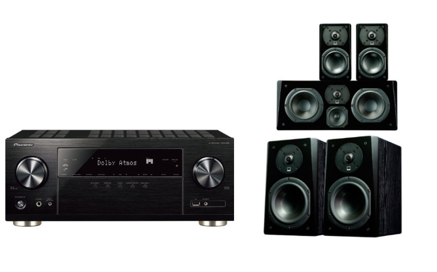 Pioneer VSX832 Prime Bookshelf Surround Package